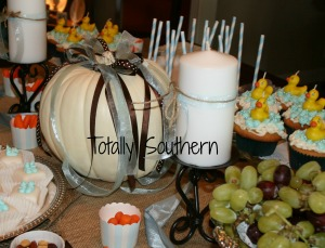 Table Full of Fall Baby Shower Goodies