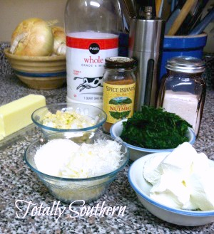 Ingredients For Three Cheese Creamed Spinach