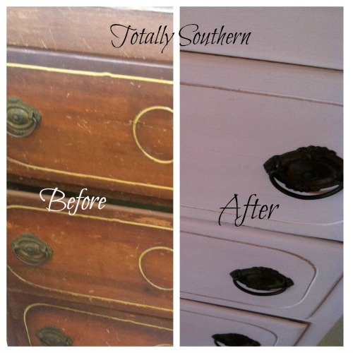 Before and After of a Chest of Drawers Painted wit Chalk Paint