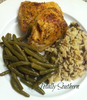 Oven Roasted Chicken, Long Grain & Wild Rice, Green Beans, Homemade by Totally Southern