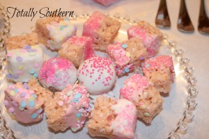 Rice Krispies Treats Made into Bite Size With Chocolate and Sprinkles