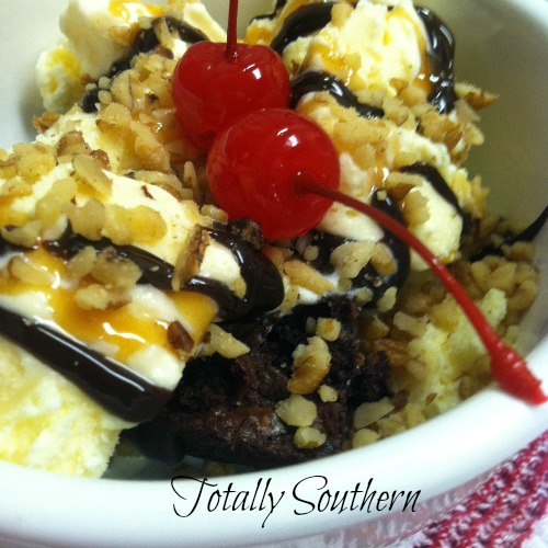 A Bowl of Chocolate Brownie Sundae