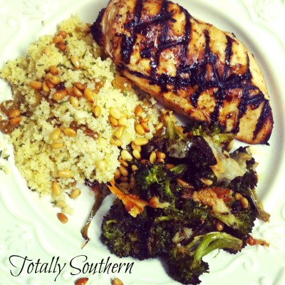 Dinner With Oven Roasted Broccoli, Grilled Chicken and Couscous